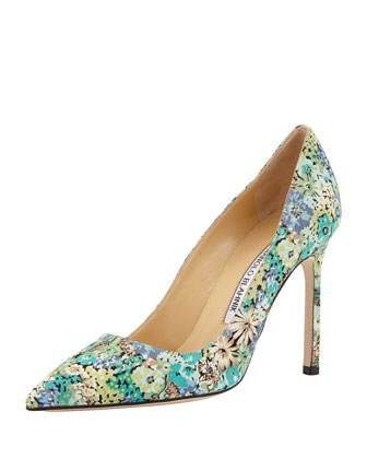 BB Floral-Print Fabric Pump, Blue