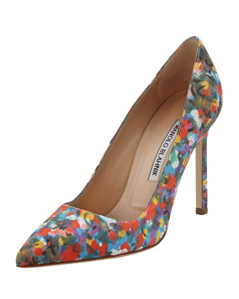 BB Floral-Print Satin Pump