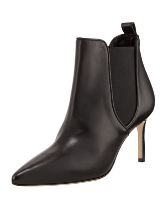 Tungade Pointy Mid-Heel Gored Ankle Boot, Black