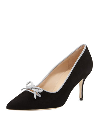 Bori Piped Suede Bow Mid-Heel Pump, Black