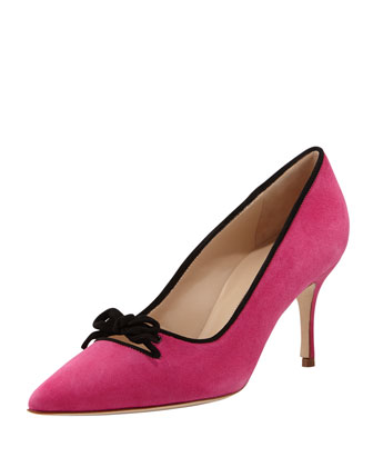 Bori Piped Suede Bow Mid-Heel Pump, Fuchsia