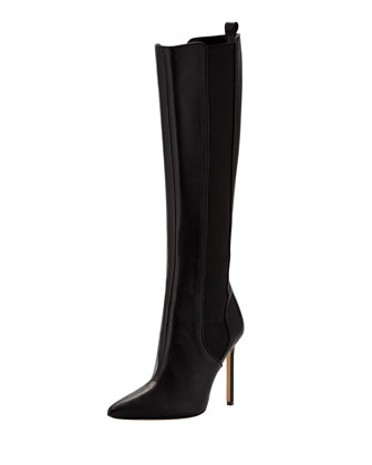 Tungadehi Gored Leather Knee Boot, Black