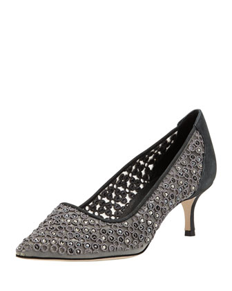Cerchi Crystal Low-Heel Pump, Charcoal