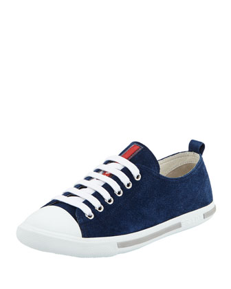 Suede Low-Top Sneaker, Navy