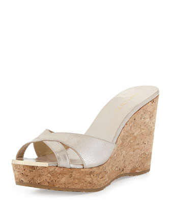 Pandora Crisscross Wedge Slide, Beige