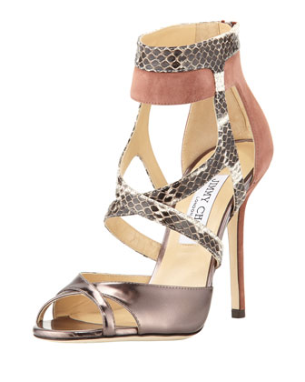 Freesia Mixed-Media High-Heel Sandal, Pink