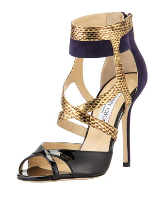 Freesia Mixed-Media High-Heel Sandal, Blue