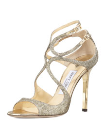 Lang Glittered Strappy Sandal, Bronze