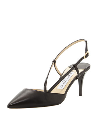Mandy Asymmetric Slingback Pump, Black