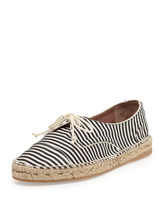 Dolly Striped Espadrille Lace-Up Flat