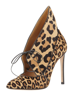 Leopard-Print Flared Lace-Up Ankle Boot