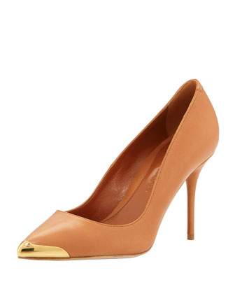 Metal-Tipped Leather Pump, Tan
