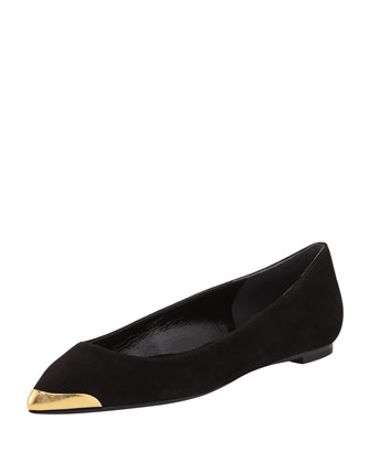 Suede Metal-Tipped Skimmer Flat, Black