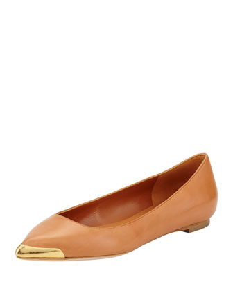 Metal-Tipped Leather Skimmer Flat, Tan