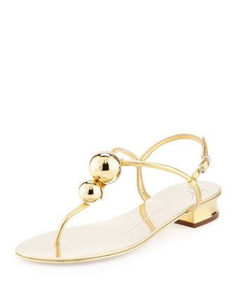 Metallic Bubbles Thong Sandal, Gold