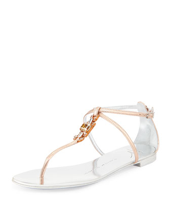 Art Deco Crystal Thong Sandal, Rose
