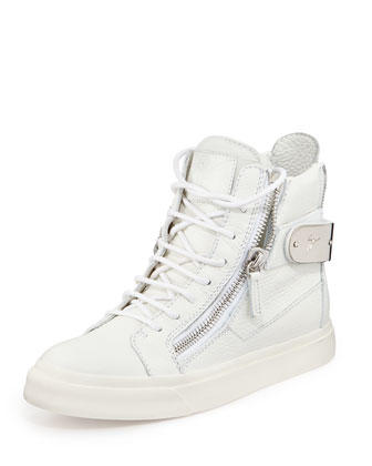 Double-Zip Back-Strap Leather High-Top Sneaker