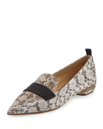 Pointy Snakeskin Smoking Slipper