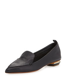 Pointy Leather Smoking Slipper