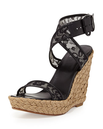 Guipure Lace Wedge Sandal, Black