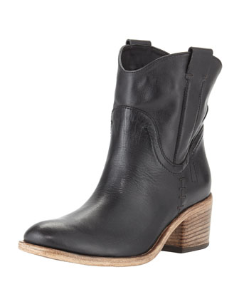 Volo Pull-On Leather Ankle Boot, Black