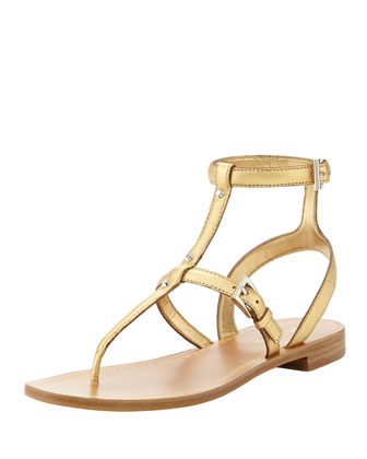 Studded Saffiano Ankle-Wrap Thong Sandal, Gold