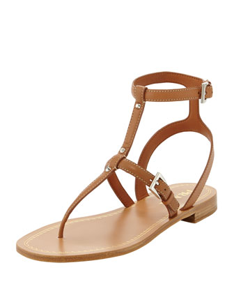 Studded Leather Ankle-Wrap Thong Sandal, Tan