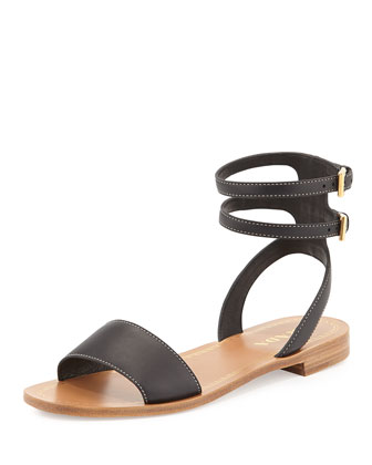 Leather Double-Wrap Flat Sandal, Black (Nero)