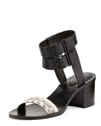 Dagney Double-Buckle City Sandal, Black