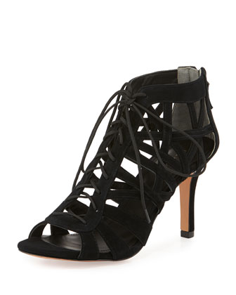 Charlize Lace-Up Cage Bootie, Black