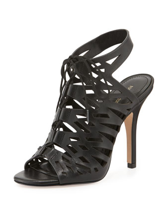 Yermak Laser-cut Lace-Up Cage Sandal, Black