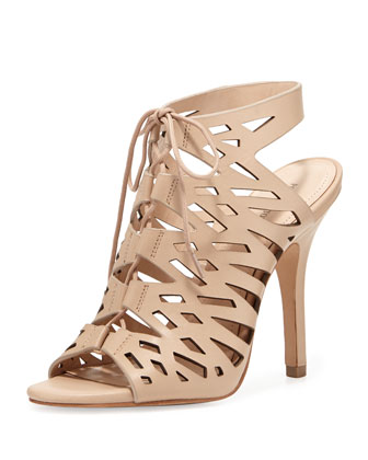 Yermak Laser-cut Lace-Up Cage Sandal, Neutral