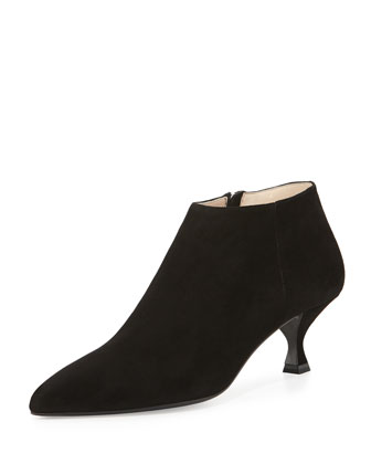 Suede Pointy Low-Heel Ankle Boot, Black