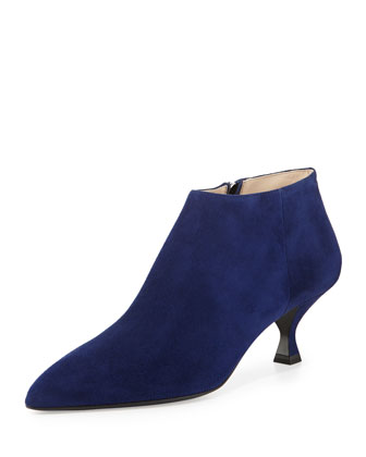 Suede Pointy Low-Heel Ankle Boot, Navy