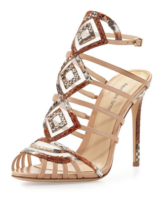 Python/Leather Diamond Sandal