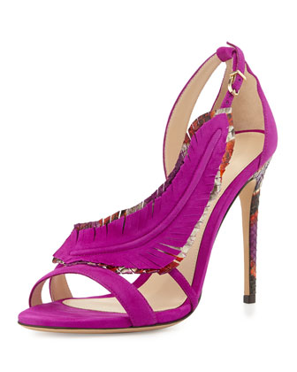 Suede and Python Feather Sandal, Fuchsia