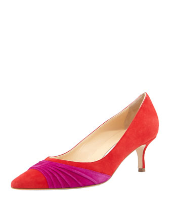 Golda Ruched Suede Pointy Pump, Red
