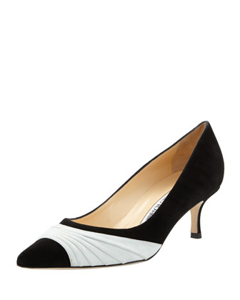 Golda Ruched Suede Pointy Pump, Black