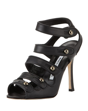 Bocekay Button-Strap Sandal, Black