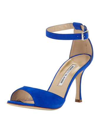 Cobras Suede Ankle-Wrap Sandal, Blue