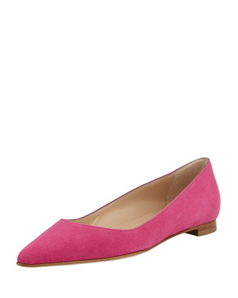 BB Suede Pointed-Toe Flat, Hot Pink