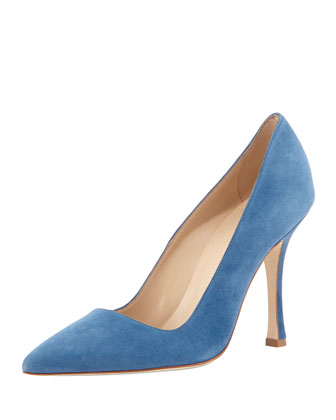 BB Suede Point-Toe Pump, Slate