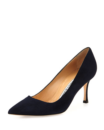 BB Suede Mid-Heel Pump, Black