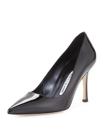 BB Patent Mid-Heel Pump, Black