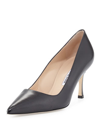 BB Leather Mid-Heel Pump, Black