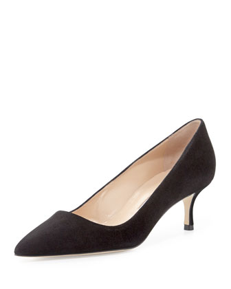 BB Suede Low-Heel Pump, Black