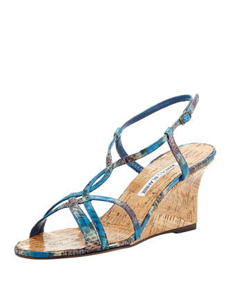 Martina Snakeskin Cork Wedge Sandal, Blue