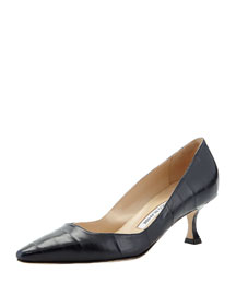 Twixpla Low-Heel Eelskin Pump, Navy