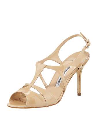 Worty Patent Strappy Sandal, Beige