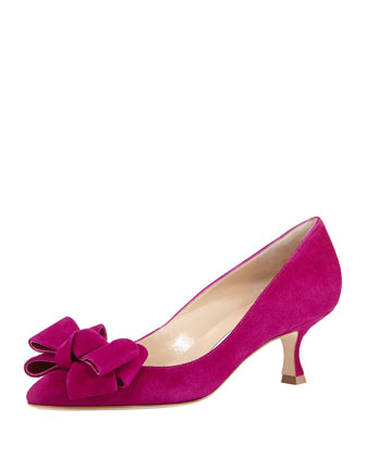 Lisa Kitten-Heel Bow Pump, Fuchsia